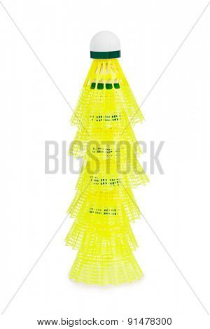 Badminton shuttlecock stack isolated on white background