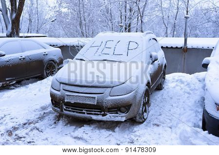 Word help on snow covered car - winter transportation problems