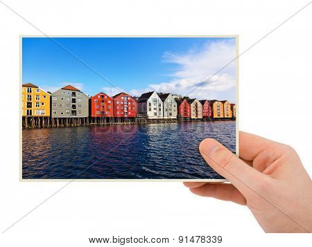 Norway travel photography in hand (Trondheim) isolated on white background