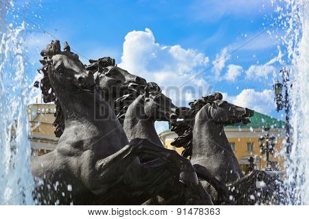 Fountain with horses