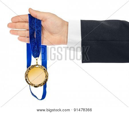 Gold medal in hand isolated on white background