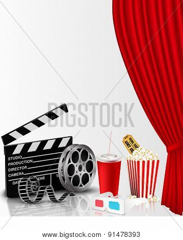 Red curtain and film object with popcorn