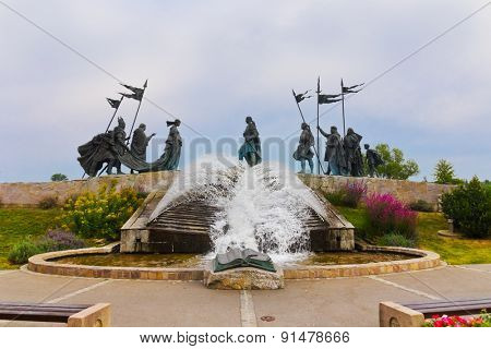 The Nibelungen Fountain at Tulln Austria - architecture background