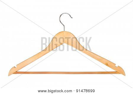 Wood hanger isolated on white background
