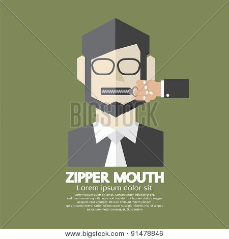 Flat Design Zipper Mouth Man.