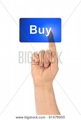 Hand and button Buy isolated on white background
