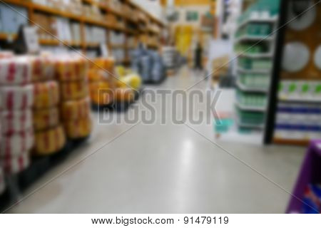 Blurry Equipment Selling In Hardware Store