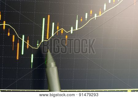 Pen Pointing On Graph On Computer Screen