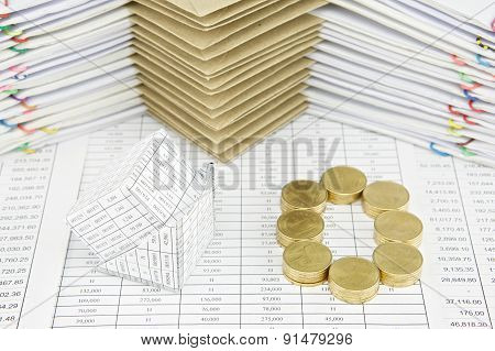 Bankruptcy Of House And Pile Of Gold Coins As Zero
