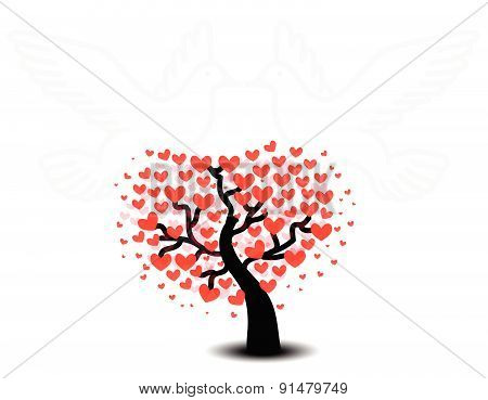 Tree Of Love With Seagulls