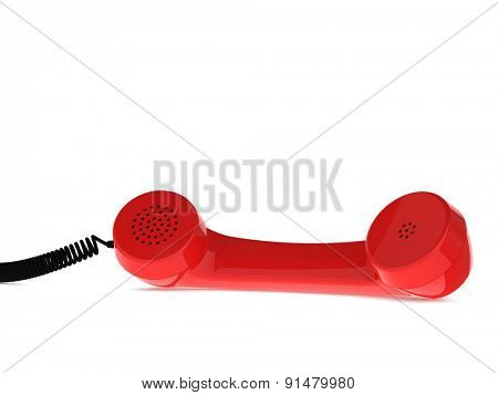 Red Retro Business Telephone Receiver Lies on the White Background