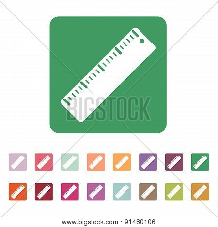 The Ruler Icon. Ruler Symbol. Flat. Vector