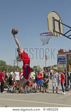 A Young Basketball Player Performs A Throw To The Slam Dunk Contest