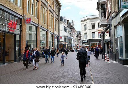 The Hague, Netherlands - May 8, 2015: People Shopping On Venestraat Shopping Street In The Hague.