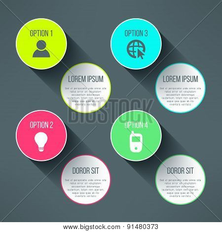 Vector infographic boards template in modern flat design. Text boards and icons with long shadows su