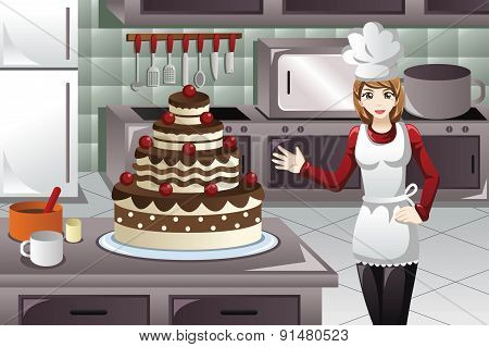 Pastry Cook Decorating A Cake
