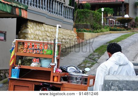 Surabaya, Indonesia - May 12: Bakso Seller Waiting For Customer Near His Stall On May 12, 2015. Baks