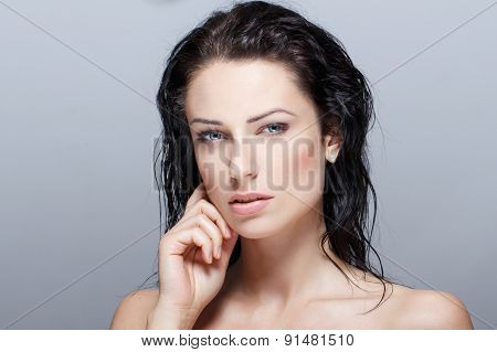 Sexy Brunette Woman With Wet Hair Beauty