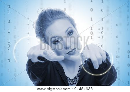 Business woman and binary code in the background - blue toned image