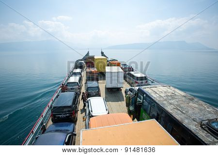 Parapat, Indonesia - March 17, 2015: Ferry on the lake Toba, Sumatra, Indonesia