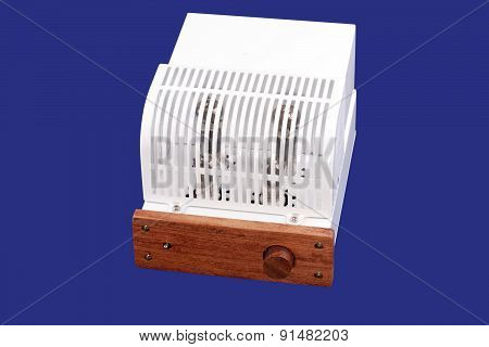 Vacuum Tube Amplifier Isolated On Blue