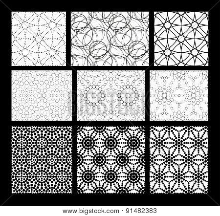 Set Of Black And White Geometric Seamless Pattern.