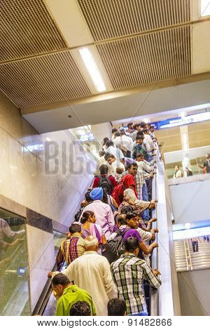 Passengers Leave The Metro Station