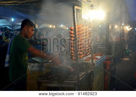 Local People Sell Barbeque Chicken In Kota Kinabalu Night market