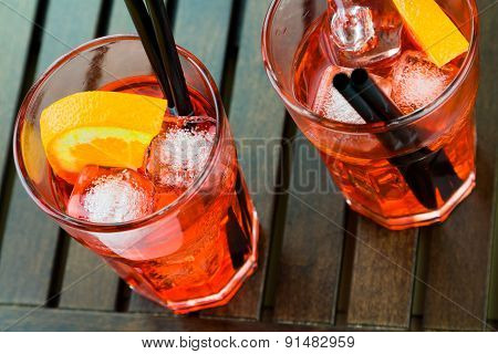 Spritz Aperitif Aperol Cocktail With Orange Slices And Ice Cubes