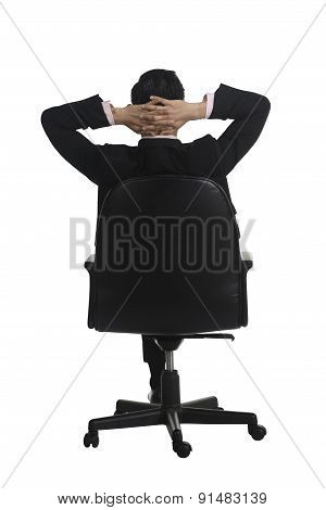 Backview Of Man Sitting On The Chair