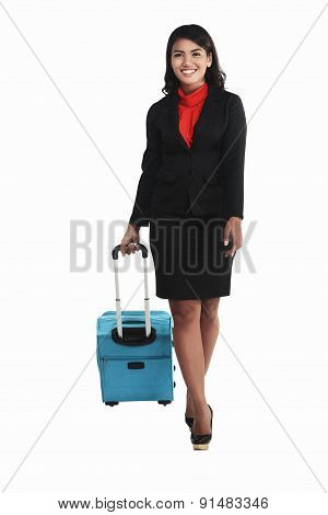 Asian Business Woman Walking With Suitcase