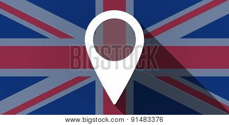 United Kingdom Flag Icon With A Map Mark