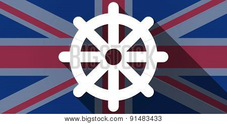 United Kingdom Flag Icon With A Dharma Chakra Sign