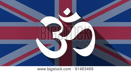 United Kingdom Flag Icon With An Om Sign