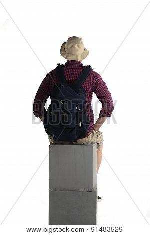 Backview Of Traveler Man