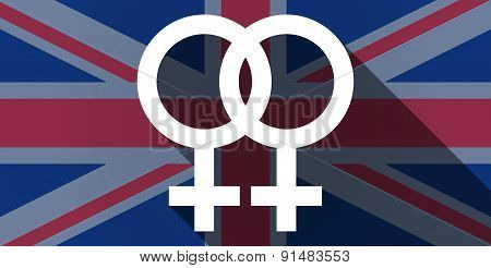 United Kingdom Flag Icon With A Lesbian Sign