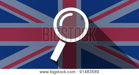 United Kingdom Flag Icon With A Magnifier