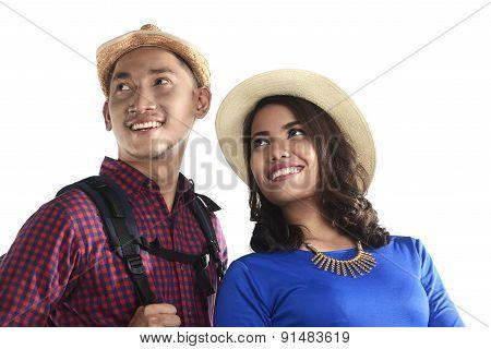 Asian Tourist Couple Smiling