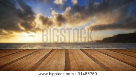 Beautiful Seascape At Sunset With Dramatic Clouds Landscape Image With Wooden Planks Floor