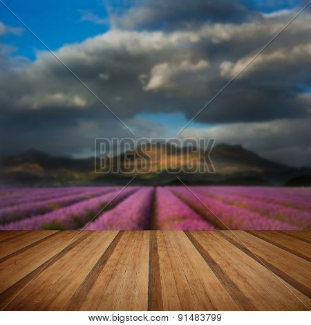 Beautiful Landscpae Of Lavender Field Leading To Mountain Range With Dramatic Sky With Wooden Planks
