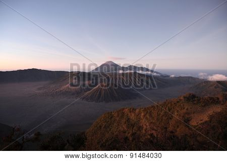 Sunrise over the volcanoes of the Tengger Caldera in East Java, Indonesia, pictured from Mount Penanjakan (2,770 m).
