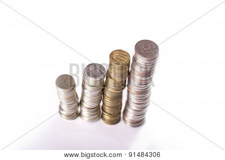 Columns from metallic currency