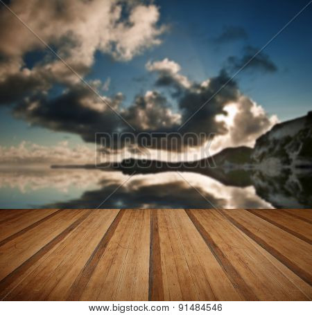 Sunrise Ocean Landscape Mupe Bay Jurassic Coast England With Wooden Planks Floor