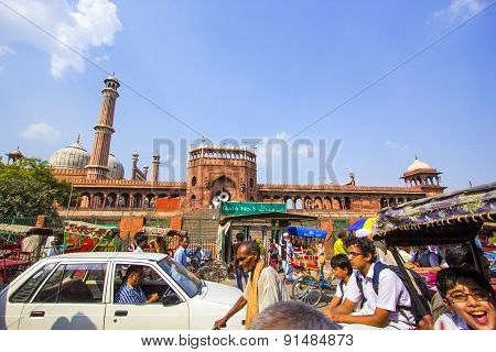 People Around Jama Masjid Mosque, Old Delhi, India