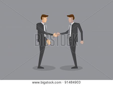 Two Businessmen Shaking Hands Full Body Vector Illustration