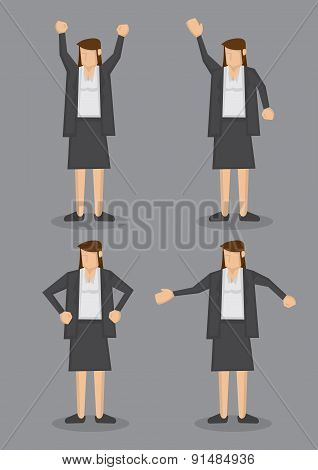 Body Language Of Professional Woman In Formal Grey Suit Vector Illustration