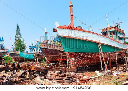 Old Fisheries Shipyard In Thasala Nakhon Si Thammarat