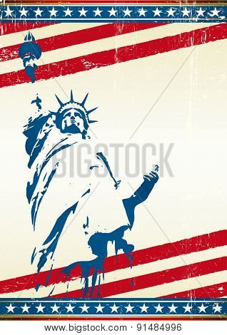 Freedom. A grunge poster with the statue of liberty in New York city. Symbol of freedom in the USA