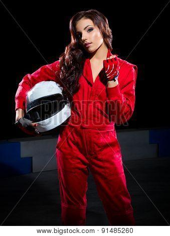 Young girl karting racer isolated