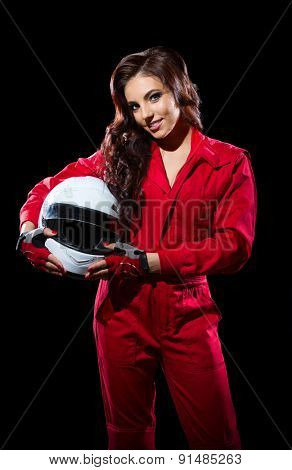 Young girl with helmet isolated